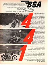 1966 BSA VICTOR MOTORCYCLE  ~ ORIGINAL 7-PAGE ARTICLE / AD
