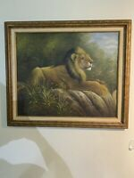LION ON ROCK 20x24 Original Oil Canvas Painting, Signed, Heavy Frame