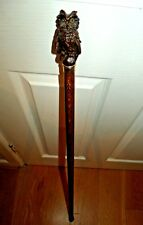 OWL HANDLE WALKING STICK CANE BROWN BEECH WOOD STICK GOLD COLOUR RING END RUBBER