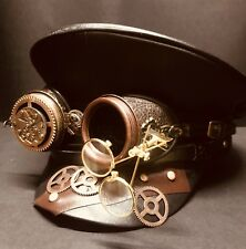 Steampunk Leather look Military Hat With Gold Double Loopy Goggles 58 Cm 59cm