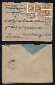 1921 Portugal Azores Cover from Ribeira Grande to Lisbon. Ceres 5c x 6
