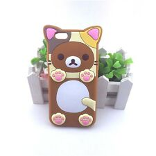 3D Cartoon Rilakkuma Bear rubber case for iPhone 6s/6 Brown Back cover Skin New