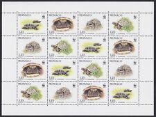 1991 MONACO N°1805/1808** Bloc Feuille WWF Tortue , Turtle, Hermann tortoise MNH