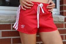 Vtg New 80s Adidas Womens Small Nylon Spell Out Sexy Soccer Shorts Red White
