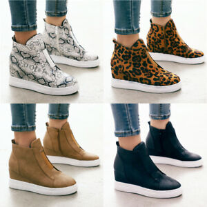 Womens Ladies Zip Up Ankle Boots Low Wedge Heels Trainers Casual Flat Shoes Size