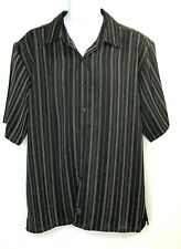 Rampage Men's Short Sleeve Button Front Black Striped Shirt Metallic Size XL