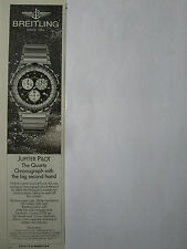 10/89 PUB MONTRE BREITLING WATCHES JUPIETR PILOT QUARTZ CHRONOGRAPH ORIGINAL AD