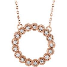 Diamante Círculo 40,6 -45 , 7cm Collar en 14k oro rosa ( 1/4 Ct. TW