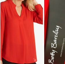 Betty Barclay V-Neck Blouse Size 10  Red L/S Floaty Flattering Top Office NEW