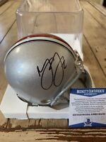 Marshon Lattimore Autographed/Signed Mini Helmet Beckett COA Ohio St Buckeyes