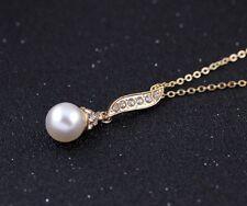 Damen Halskette Perlenkette mit Strass-Steine Kristall Anhänger 18k Gold pl. Neu
