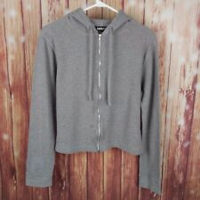 DKNY Woman's L/S Zipper Sweater Size Medium Gray Classic Stealth Logo
