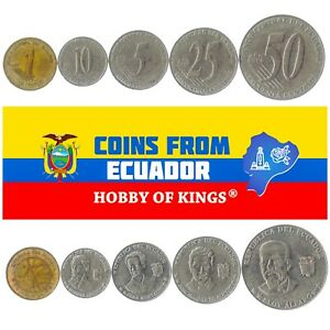 5 ECUADORIAN COIN DIFFER COLLECTIBLE COINS FROM SOUTH AMERICA FOREIGN CURRENCY