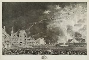 """Jean-Michel Moreau : """"Fireworks Presented to King and Queen"""" — Fine Art Print"""