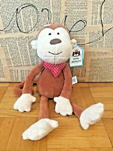 Little Jellycat Cheeky Monkey soft toy plush brown chimp red neckerchief New