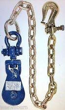 2 ton snatch block w/ chain twist lock grab hook flatbed tow truck wrecker
