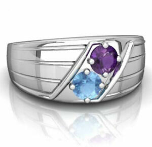 10K White Gold Natural Blue Topaz Amethyst Gemstone Men's Ring Jewelry 081S