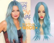 DELUXE BLUE LONG WAVY PASTEL HEAT RESISTANT FASHION WIG