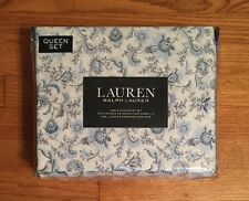 NEW-RALPH LAUREN-QUEEN SHEET SET~JACOBEAN FLORAL PAISLEY~BLUE & WHITE-100% CTN