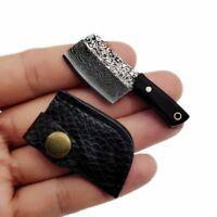 Damascus Keychain Small Kitchen Knife Mini Knife Pendant, cover & iron Box gift