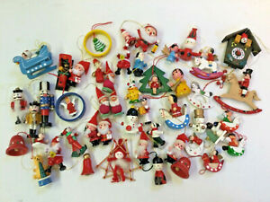 Job Lot 50 Vintage Retro Scandi Traditional Wooden Christmas Tree Decorations