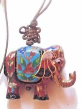 Vtg Cloisonne Thick Elephant Gold-Chocolate Brown-Turquoise-Green-Pin k-3D-Cord