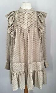 H&M Beige Devore Victorian/Prairie Style Frilly Dress Size L BNWT's