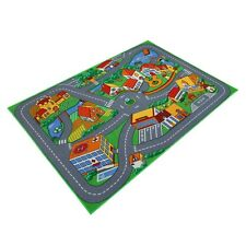 Kinderteppich Spielteppich Stadt 95x133 cm Straßenteppich Kreisverkehr Lernteppi