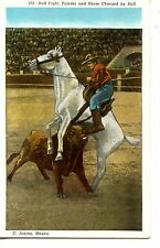 Bullfight-Picador on Horseback-Bull Charge in Ring-Sport-Mexico-Vintage Postcard