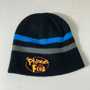 Boy's Disney Phineas and Ferb Logo Beanie Stocking Cap Striped Winter Hat 90s