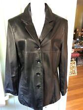 Wilson's Leather Pelle Studio Woman's Lambskin Black Lined Blazer Jacket Coat