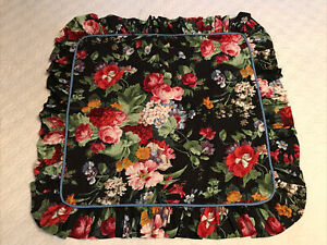 Rare! Crown Crafts Pillow Sham Coordinate w RL Cossette Isadora Black Floral