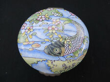 Chinese Antique Cloisonne Enameled Round Covered Box with Koi Fish