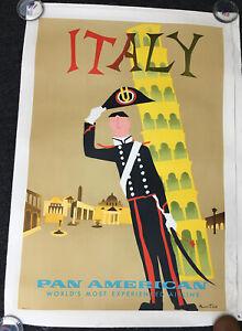 ITALY-PAN AMERICAN- Aaron Fine-TRAVEL VINTAGE POSTER ORIGINAL 1960'S