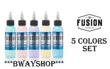 FUSION Tattoo Inks Pastel Set of 5 Colors 1 oz 30 ml Bottle Authentic Mint Pink