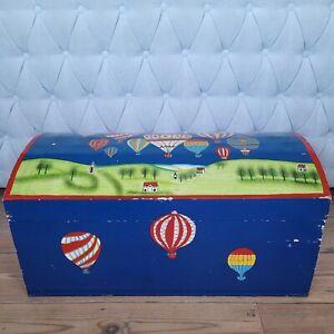 Vintage Toy Kids Storage Box Handpainted