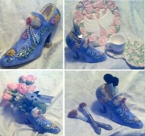 VTG Ceramic French Shoe Blue Pink Flower Vase Rhinestone Heart Pearl Ribbon Gold