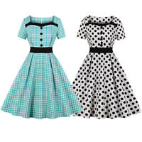 50s Women's Rockabilly Retro Summer Dress Vintage Check Dot Pinup Evening Dress
