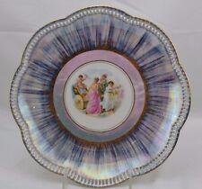 Schumann Bavaria Reticulated Blue Luster Plate Goddess Scalloped Edge