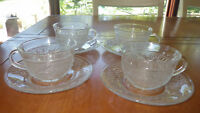 Clear Sandwich Glass cups and saucers Pressed glass by Tiara 4 sets