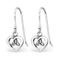 925 Sterling Silver Celtic Heart Drop/Dangle Earrings