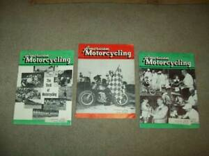 3 vtg AMERICAN MOTORCYCLING 1957 Harley Davidson BSA racing BIKE Triumph old ad