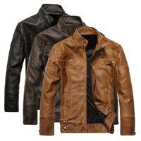 Men's Coat Biker Motorcycle Jacket Stand Collar Jacket Slim Outwear Coat