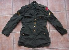 Vintage US Military Army Dress Jacket Patches Gold Buttons USA Size 37 Regular