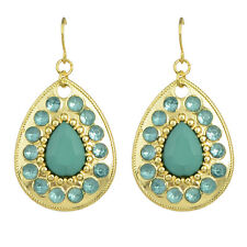 Vintage Style Gold Turquoise Blue Teardrop Drop Dangle Earrings E1078