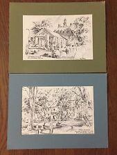 Set of 2 Vintage Jas F. Murray Pencil Art Prints Williamsburg VA In Original pkg