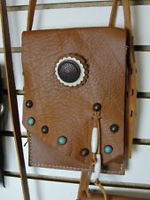 Tan Leather Cross body Purse with Fringe and Chrome concho and studs