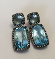 NWT DAVID YURMAN Chatelaine Blue Topaz Diamond Double Drop Earrings $2900