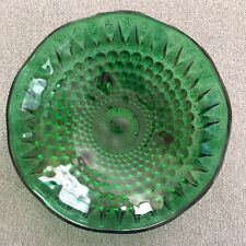 "Anchor Hocking Green Glass Bowl Bubbles 1 1/2"" tall 6 3/8"" diameter"