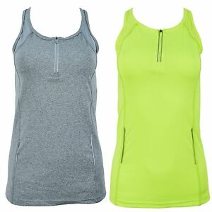 Ladies Vest Top Running Womens Reflective Sports Mesh Tank Breathable Gym Tee
